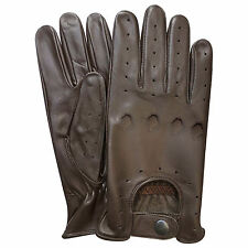 PRIME TOP QUALITY REAL SOFT LEATHER MENS DRIVING GLOVES BNWT BROWN 502 NEW
