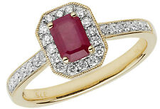 Octagon Ruby With 0.26ctw Diamond Ring Yellow Gold British Made Size J - Q