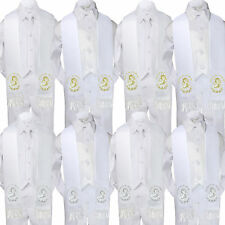 5pc Baby Boy Virgin Mary Pope Stole Baptism White Neck or Bow Tie Vest Suit Sm-7