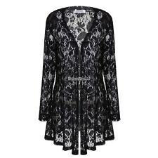 Women Casual Lace Crochet Long Sleeves Open Front Long Cardigan Tops FT