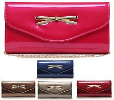 NEW WOMENS LADIES PATENT GOLD BOW BRIDAL PARTY EVENING PROM ENVELOPE CLUTCH BAG