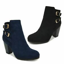 New Women Faux Suede Ankle Block High Heel Bootie Fashion Dress Boots Shoes Hins