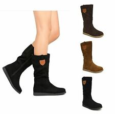 New Womens Winter Faux Suede Mid Calf Round Toe Zipper Fashion Riding Boot Poria