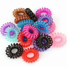 10pcs Beautiful Girl Elastic Rubber Hair Ties Band Rope Ponytail Holder Spiral