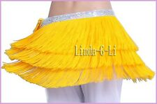 Profesional New Belly Dance 3 Layer Tassel Hip Scarf Belt Tribal 6 Colors 8/3