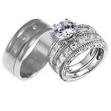 Mens Womens Titanium Silver 925 CZ Engagement Wedding Ring Set His & Hers