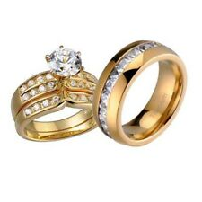 His and Hers Wedding Rings 3 pcs Engagement CZ Sterling Silver Titanium Set AM