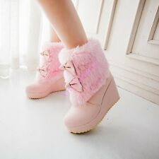 Womens Wedge Bowknot Fur High Heels Winter Platform Ankle Chic Boots Shoes Candy