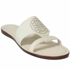 TORY BURCH Perforated Logo Flat Slide Sandal 8