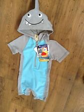SHARK Hooded Baby Boys Bathers Swimsuit Hat BNWT Size 00, 0, 1, 2, 3, or 4