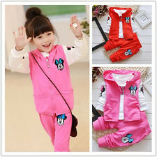 3PCS Mickey Mouse Baby Kids Girls Long Sleeve Hoodie Vest+T-shirt+Pants Outfit