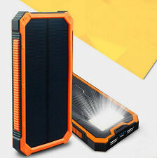 10000-20000mah Solar Power Bank Portable External Battery Dual USB Phone Charger