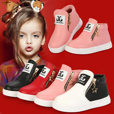 PU Slip On Double Zipper Casual Fashion Shoes Korean Girls Boots Martin Children