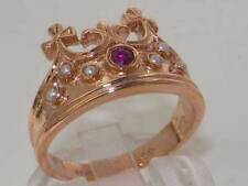 Solid 9ct Rose Gold Natural Ruby & Pearl Coronet Crown Band Ring