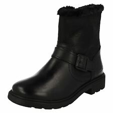 Girls Clarks Ines Remi Inf & Jnr Black Leather Ankle Boots