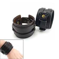 Retro Gothic PU Leather Buckle Punk Cuff Bangle Wristband Bracelet Adjustment