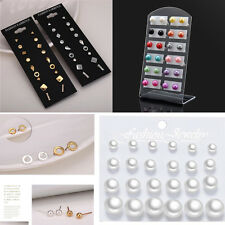 12 Pairs Fashion 6MM Pearl Candy Colors Stud Earrings Elegant Women Ear Jewelry