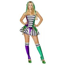 Mardi Gras Costume Adult Sexy Jester Harlequin Halloween Fancy Dress