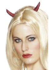 Devil Horns Hair Clips Halloween Fancy Dress Accessory Red Glitter Hair Clips