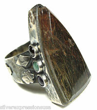 Genuine Natural Red Rutilated Quartz Gemstone 925 Sterling Silver Ring size 9