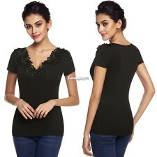 Women Fashion V Neck Casual Slim Embroidery Lace Splicing Top Blouse ES9P