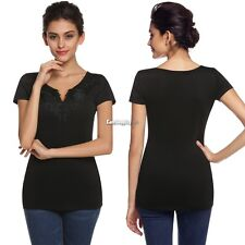 Women Ladies V-Neck Short Sleeve Embroidery Tops Blouse T-Shirt Fashion ES9P