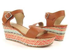 New Womens Abound Geometric Multi Color Wedge with Brown Straps Sandal