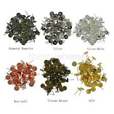 Wholesale 100pcs 8mm Blank Pad Stud Earring Post Pin Jewelry Findings-6 Colors