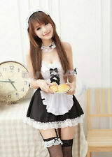 Cotton Sexy Girl's Maid Lolita Uniform Halloween Costume Dress Cosplay Outfit