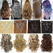 AU Clip in Full Head Hair Extensions Extension Real Thick For Human Straight Tde