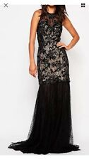 Forever Unique Africa Maxi Dress with Sheer Skirt Black Uk 14