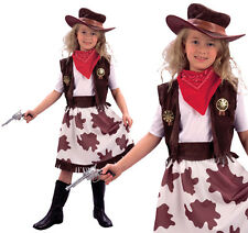 Childrens Cowgirl Fancy Dress Costume Cowboy Girls Western Outfit Childs M
