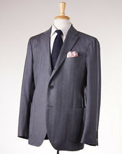 NWT $1450 LARDINI Slate Blue Herringbone Brushed Wool Suit 44 R Slim-Fit