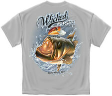 Fishing T-Shirt Wicked Fish Large Mouth Bass With Popper - Chrcoal Gray