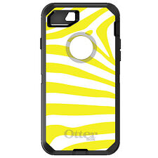 CUSTOM OtterBox Defender for iPhone 6 6S 7 PLUS Yellow & White Zebra Skin Stripe