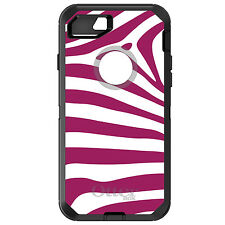 CUSTOM OtterBox Defender for iPhone 6 6S 7 PLUS Fuchsia & White Zebra Skin