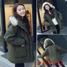 Winter Warm Women Lady Big Fur Collar Cotton Padded Coat BF Casual Thicken Coat