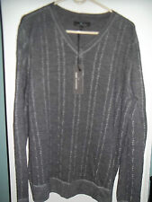 NWT Mens V Neck Sweater by Marc Anthony, Gray, Wool Blend! Large & XLarge