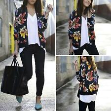 Womens Long Sleeve Floral Printed Casual Blazer Suit Casual Jacket Coat Outwear