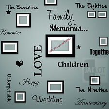 FAMILY MEMORIES Words Wall Art Quote - Vinyl Decal Stickers for Picture Frames