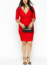 Lovely Sexy Vintage Red Plunge Neck Ruffle Dress Plus size