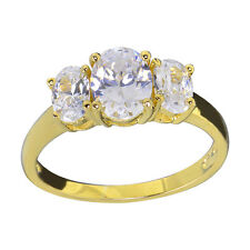 Gold Plated Sterling Silver Three Stone CZ Jewelry Women Wedding Engagement Ring