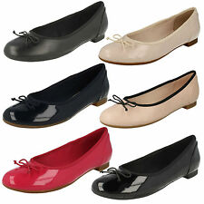 LADIES CLARKS SLIP ON LEATHER BOW BALLERINA FLAT PUMPS SHOES COUTURE BLOOM