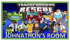 TRANSFORMERS RESCUE BOTS PERSONALISED NAME PLAQUE DOOR/WALL/SIGN