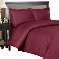 600 Thread Count 100% Cotton Sateen Striped Duvet Cover Set (3PC, Burgundy)