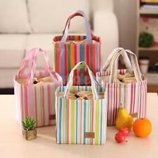 Portable Striped Travel Picnic Lunch Box Tote Cooler Bag Bento Pouch Container