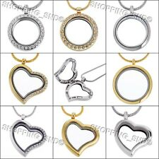 Living Memory Locket Pendant Necklace Floating Charms Silver Gold Heart Round