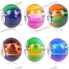 Mix Gradient Murano Glass Charm Beads Large Hole European Bracelet Silver O-Ring