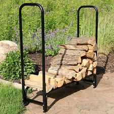Sunnydaze Firewood Log Rack Black Steel Storage - Multiple Sizes & Options