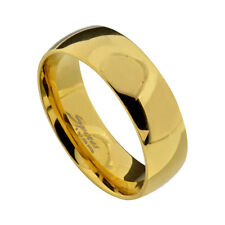 8mm Stainless Steel IP Gold Shiny Mirror Finish Men's Wedding Band Ring sz 9-14